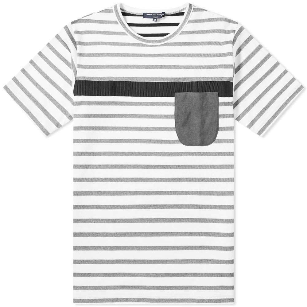 COMME DES GAR・・ONS HOMME ストライプ Tシャツ メンズファッション トップス カットソー メンズ 【 Comme Des Garcons Homme Patch Pocket Stripe Tee 】 Black & White