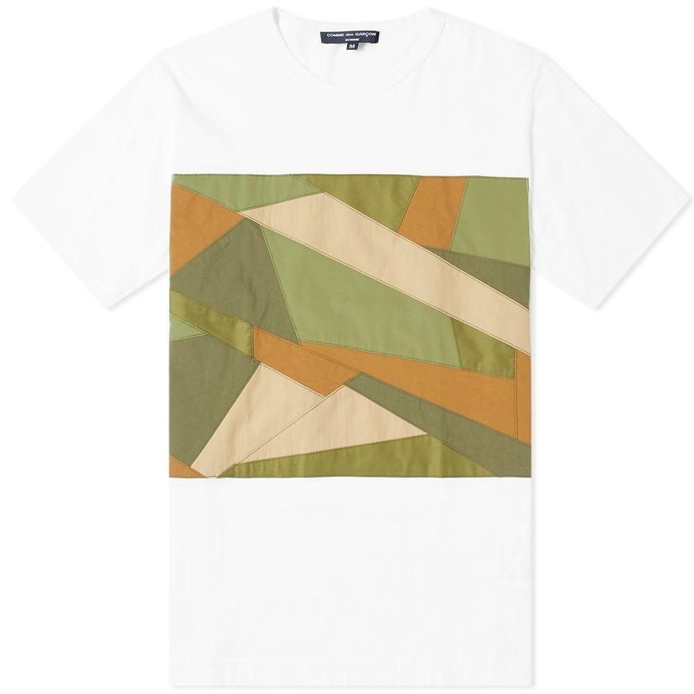 COMME DES GAR・・ONS HOMME Tシャツ メンズファッション トップス カットソー メンズ 【 Comme Des Garcons Homme Fabric Camo Insert Tee 】 White & Camo