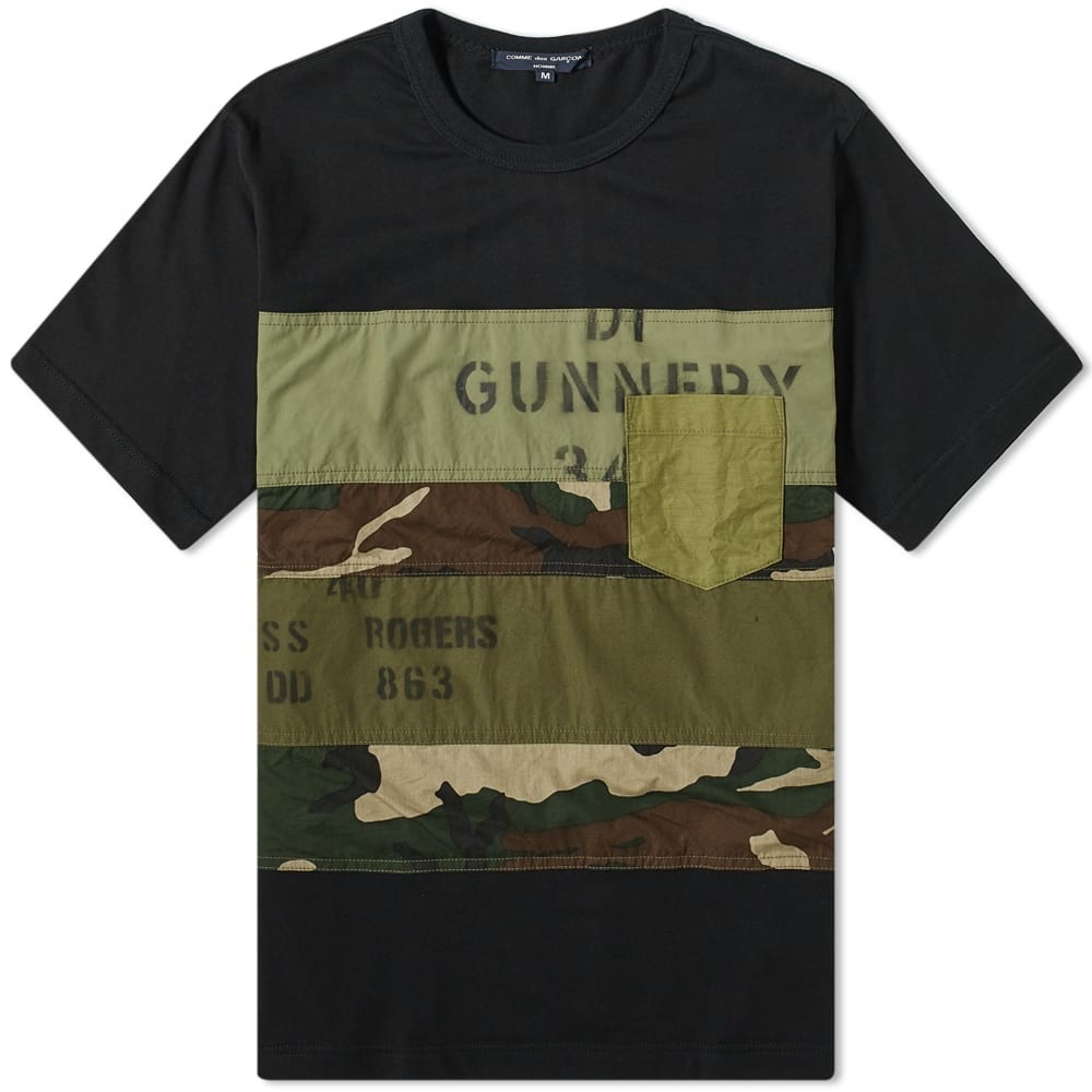 COMME DES GAR?ONS HOMME & 【 GARCONS PATCHWORK MILITARY TEE BLACK KHAKI 】 メンズファッション トップス Tシャツ カットソー 送料無料