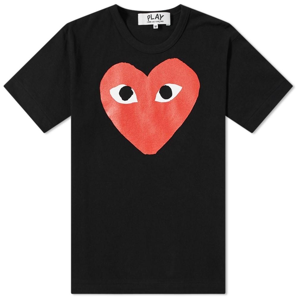 COMME DES GAR?ONS PLAY ロゴ Tシャツ メンズファッション トップス カットソー メンズ 【 Comme Des Garcons Play Heart Logo Tee 】 Black & Red