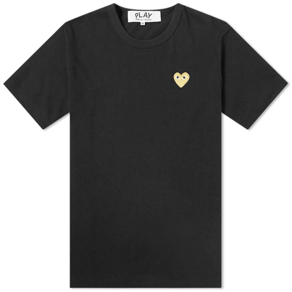 COMME DES GAR・・ONS PLAY ロゴ Tシャツ メンズファッション トップス カットソー メンズ 【 Comme Des Garcons Play Gold Heart Logo Tee 】 Black