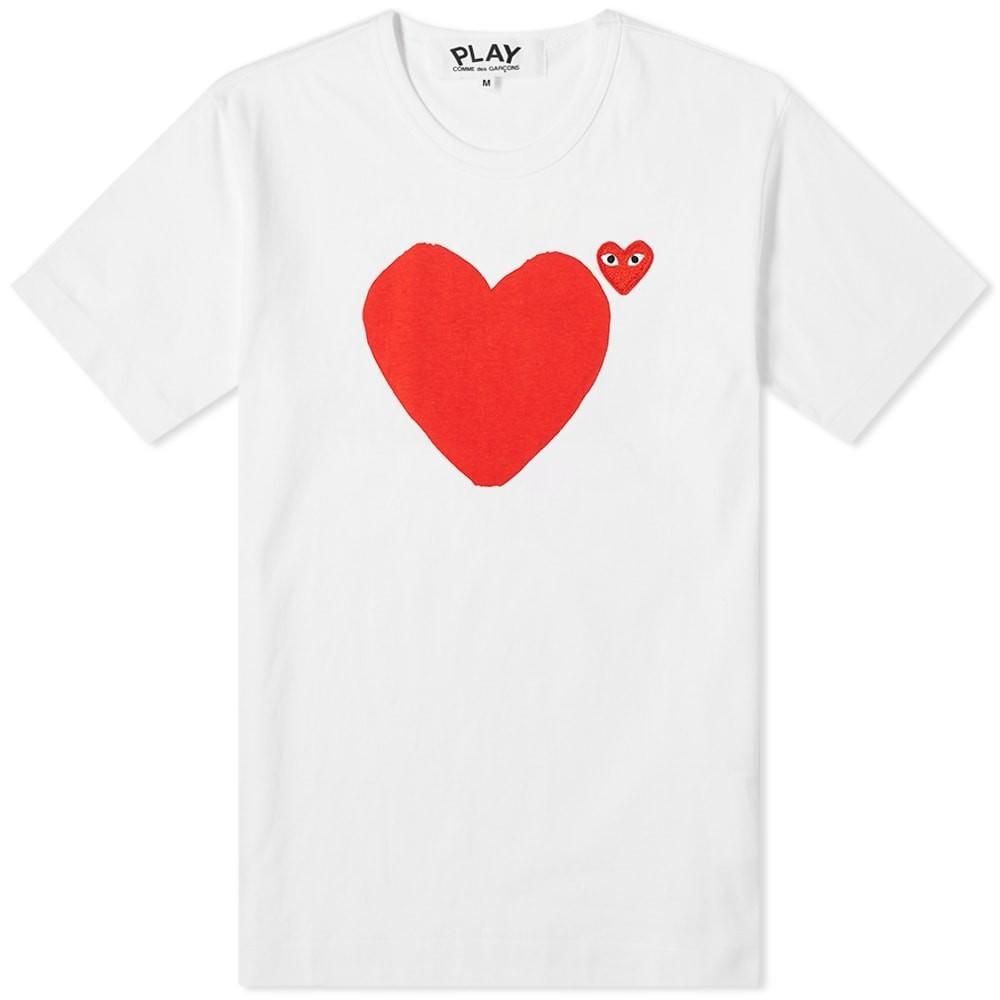 COMME DES GAR・・ONS PLAY Tシャツ メンズファッション トップス カットソー メンズ 【 Comme Des Garcons Play Front And Back Heart Tee 】 White