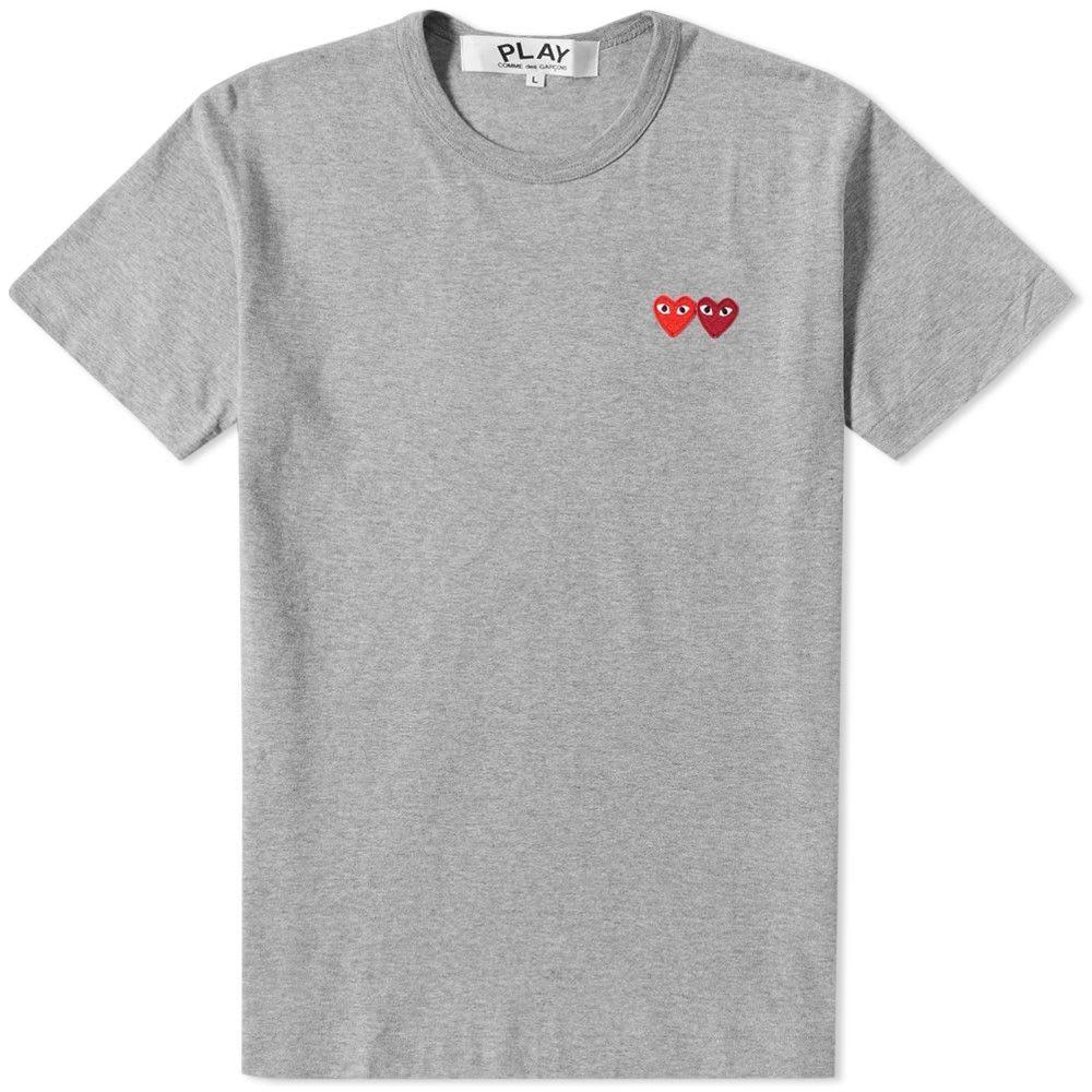 【スーパーセール中! 6/11深夜2時迄】COMME DES GAR?ONS PLAY Tシャツ メンズファッション トップス カットソー メンズ 【 Comme Des Garcons Play Double Heart Tee 】 Grey