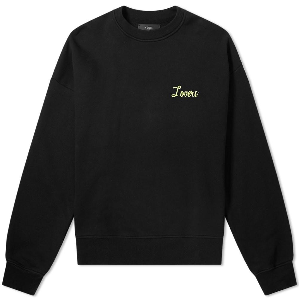 AMIRI スウェット メンズファッション トップス トレーナー メンズ 【 Lovers Oversized Crew Sweat 】 Black & Neon Yellow