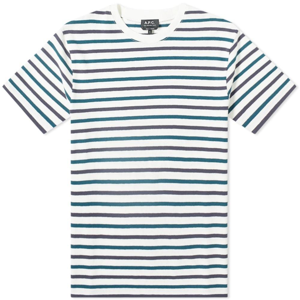 A.P.C. ミクロ ストライプ Tシャツ メンズファッション トップス カットソー メンズ 【 Micro Stripe Tee 】 White