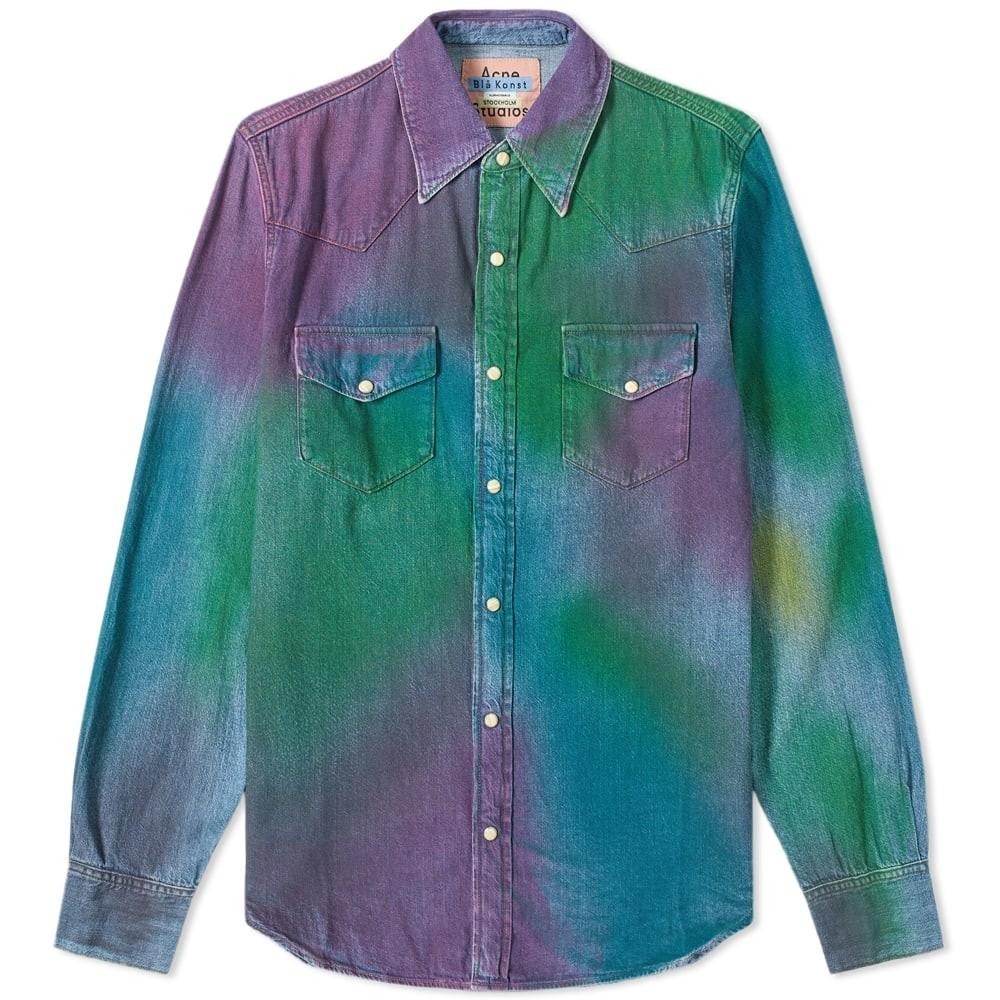 ACNE STUDIOS 【 2001 WESTERN SHIRT RAINBOW SPRAY 】 メンズファッション トップス カジュアルシャツ 送料無料