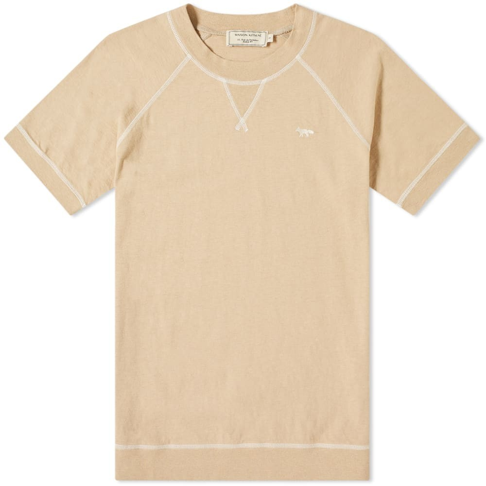 【スーパーセール中! 6/11深夜2時迄】MAISON KITSUNE フォックス Tシャツ Kitsun? メンズファッション トップス カットソー メンズ 【 Maison Kitsun? Fox Flatlock Tee 】 Beige