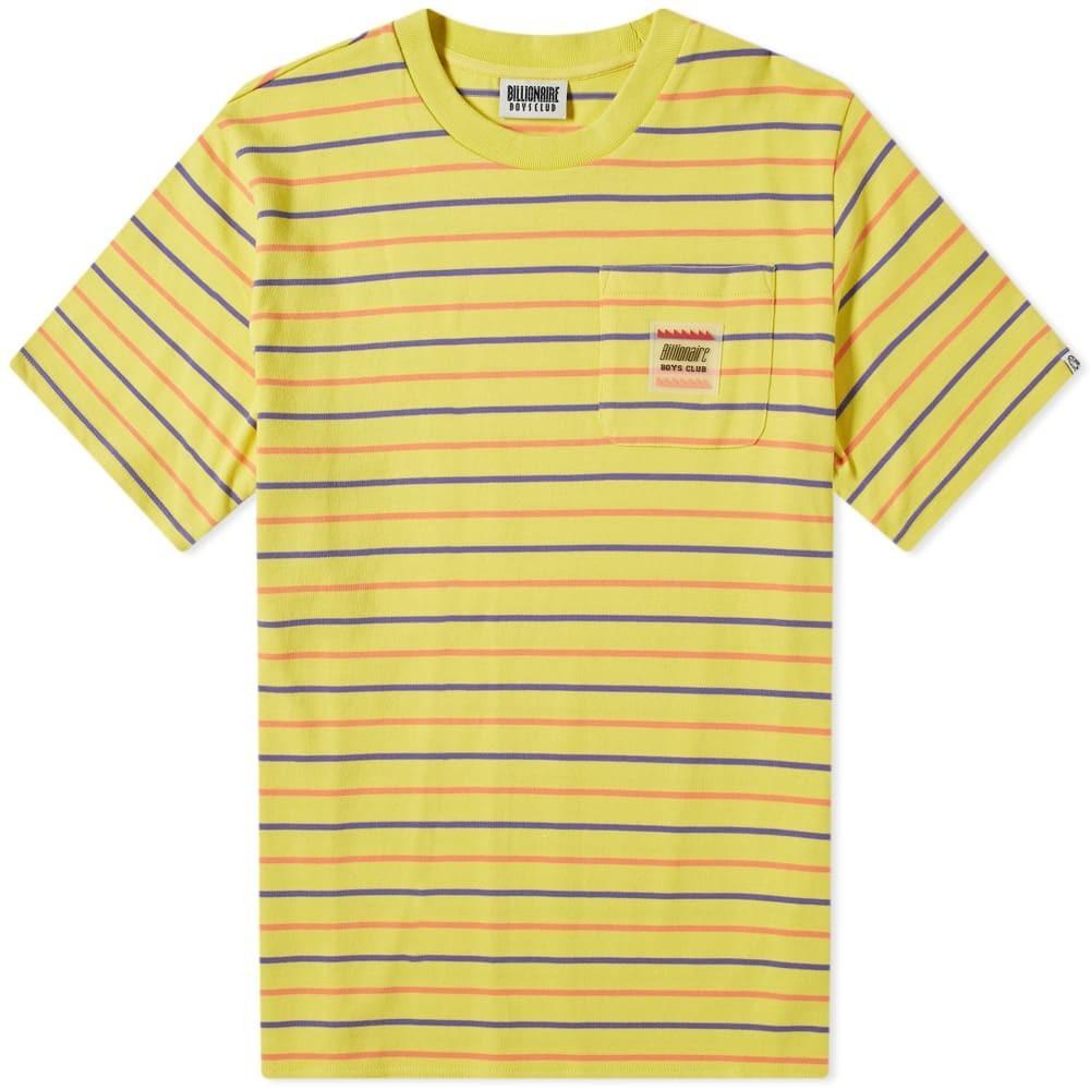 ビリオネアボーイズクラブ BILLIONAIRE BOYS CLUB ウーブン ストライプ Tシャツ メンズファッション トップス カットソー メンズ 【 Woven Stripe Pocket Tee 】 Yellow