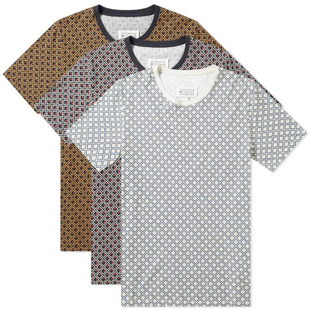 MAISON MARGIELA クラシック Tシャツ メンズファッション トップス カットソー メンズ 【 10 Classic Tee - 3 Pack 】 Diamond Print