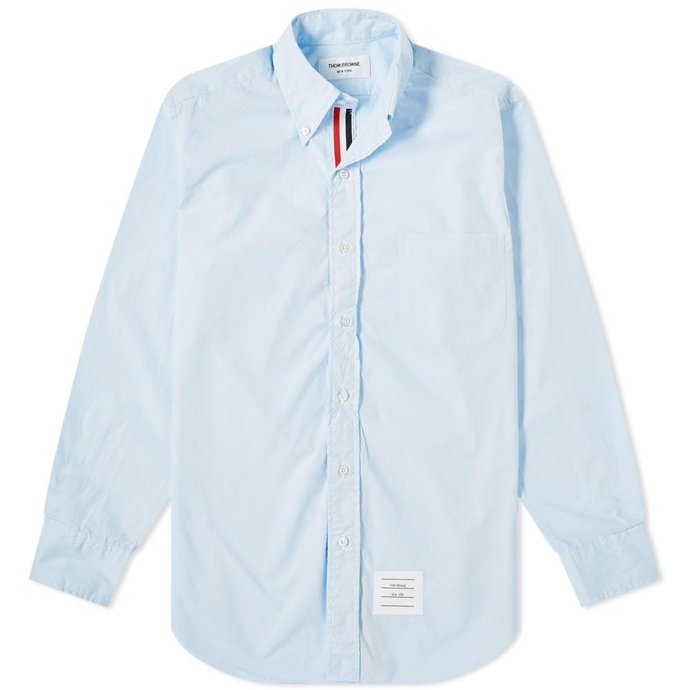 THOM BROWNE ソリッド 【 GROSGRAIN PLACKET SOLID POPLIN SHIRT BLUE 】 メンズファッション トップス カジュアルシャツ 送料無料