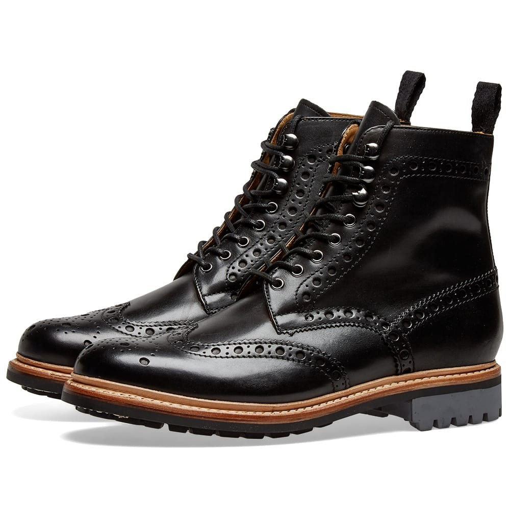 GRENSON ブーツ メンズ 【 Fred Commando Sole Brogue Boot 】 Black Hand Painted