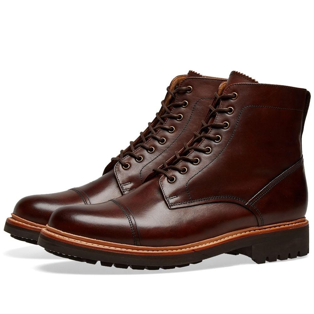 GRENSON キャップ 帽子 ブーツ メンズ 【 Joseph Toe Cap Boot 】 Dark Brown Hand Painted