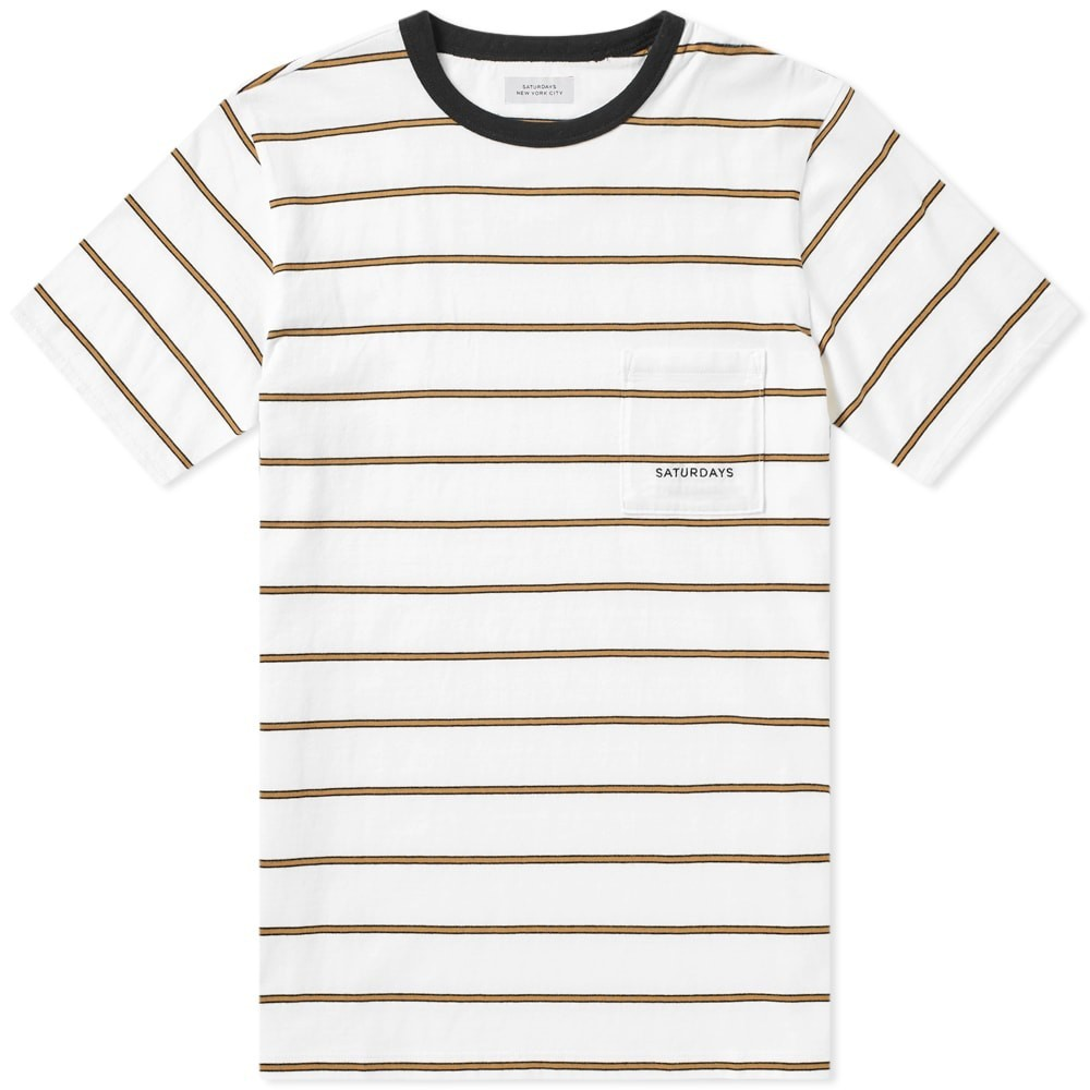 SATURDAYS NYC ストライプ Tシャツ メンズファッション トップス カットソー メンズ 【 Randall Stripe Tee 】 White