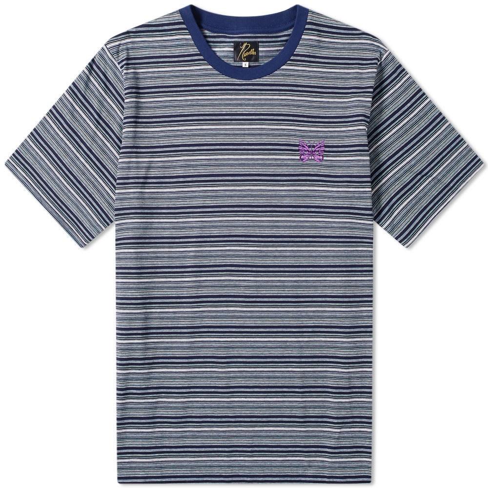 NEEDLES ロゴ ストライプ 【 STRIPE PAPILLON LOGO TEE NAVY 】 メンズファッション トップス Tシャツ カットソー 送料無料