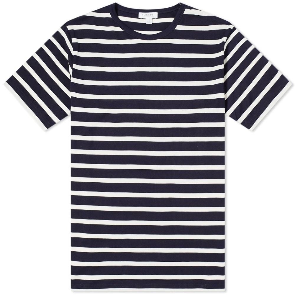【スーパーセール中! 6/11深夜2時迄】SUNSPEL ストライプ Tシャツ メンズファッション トップス カットソー メンズ 【 Breton Stripe Tee 】 Navy & Ecru