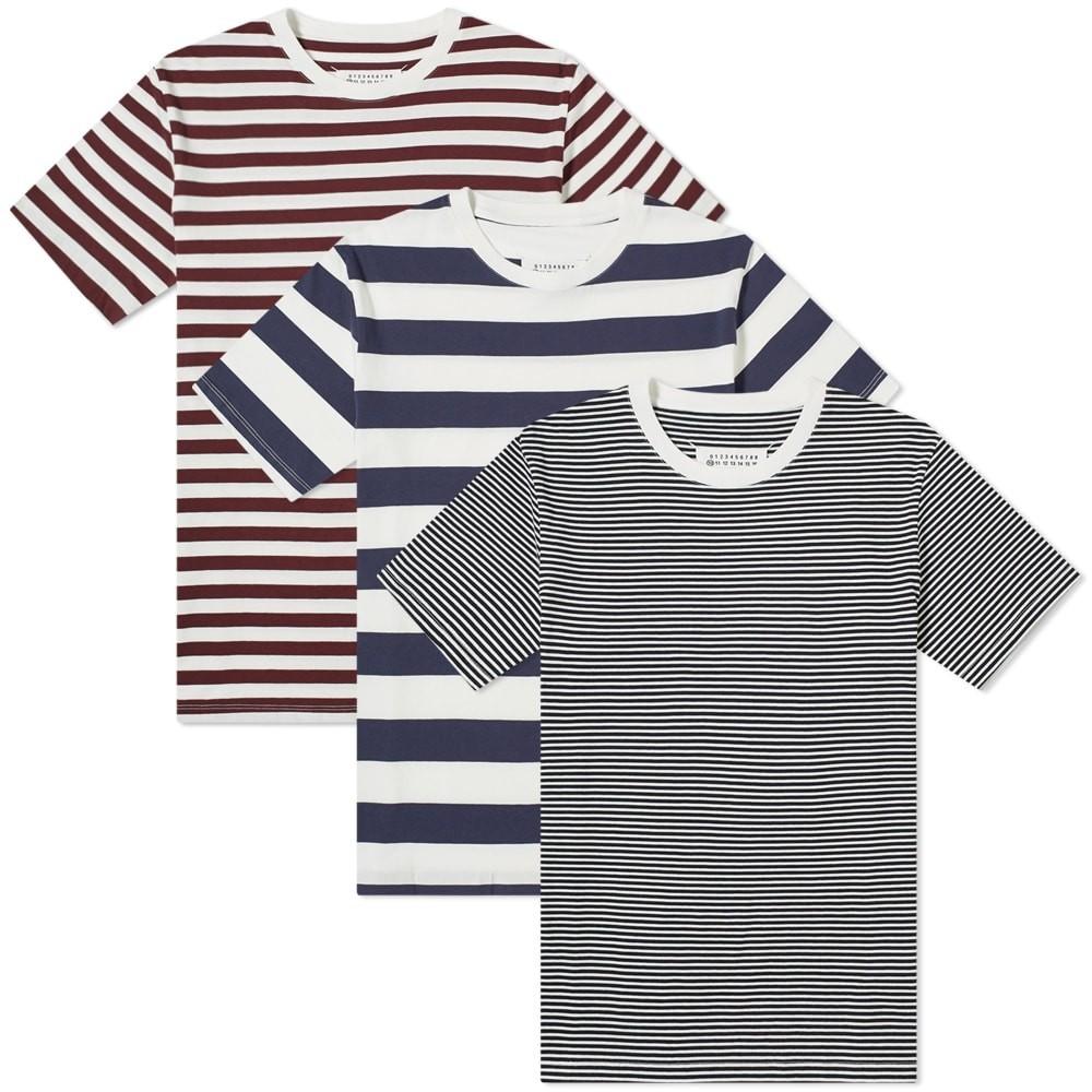 【スーパーセール商品 12/4-12/11】MAISON MARGIELA クラシック Tシャツ MARINE, & 【 10 CLASSIC TEE 3 PACK DARK BORDEAUX INDIGO 】 メンズファッション トップス カットソー 送料無料