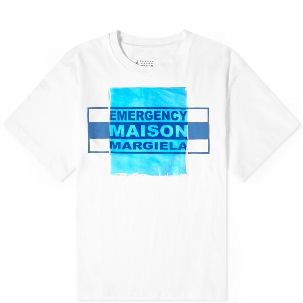 【スーパーセール商品 12/4-12/11】MAISON MARGIELA ロゴ 【 10 IRIDESCENT LOGO OVERSIZED TEE OFF WHITE 】 メンズファッション トップス Tシャツ カットソー 送料無料