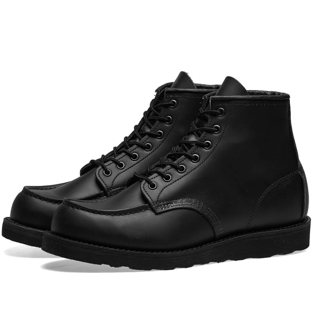 "RED WING ブーツ 6"" メンズ 【 8137 Heritage Work 6"" Moc Toe Boot 】 All Black Chrome"