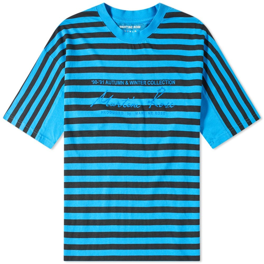 【スーパーセール中! 6/11深夜2時迄】MARTINE ROSE ストライプ Tシャツ メンズファッション トップス カットソー メンズ 【 Oversized Stripe Tee 】 Black & Blue