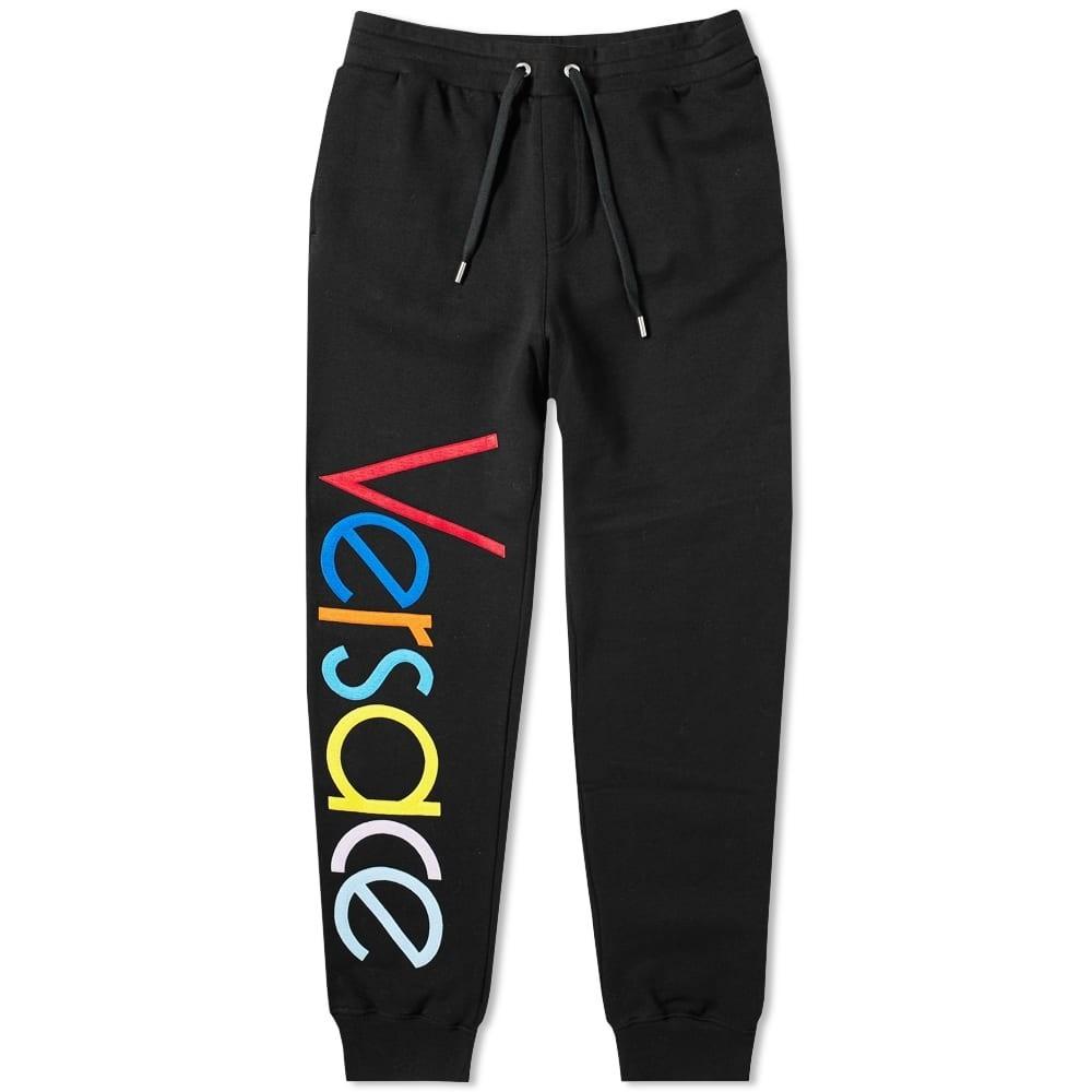 VERSACE ロゴ スウェット パンツ 黒 ブラック 【 SWEAT BLACK VERSACE LOGO EMBROIDERED MULTICOLOUR PANT 】 メンズファッション ズボン パンツ