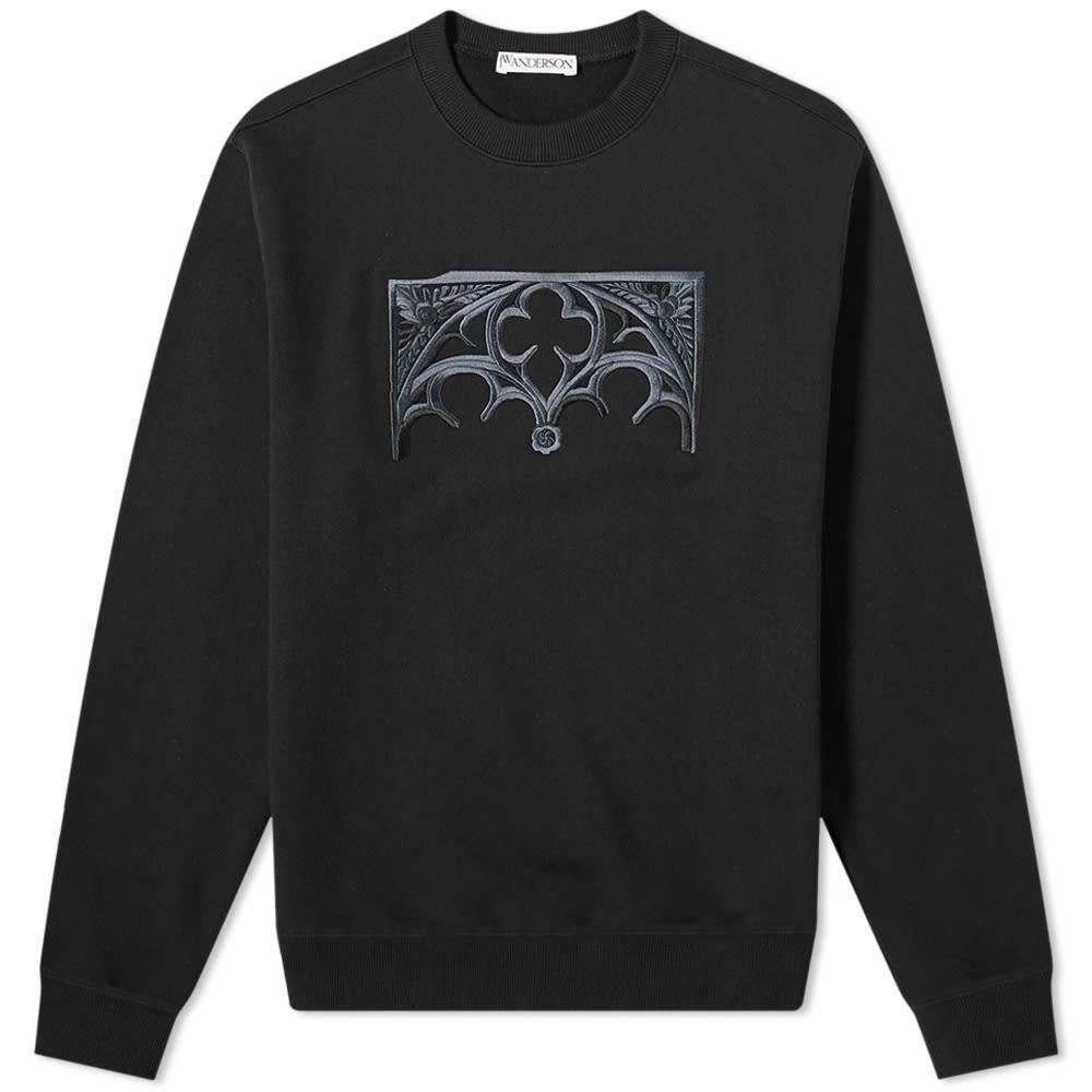 JW ANDERSON 【 GATE EMBROIDERED CREW SWEAT BLACK 】 メンズファッション トップス スウェット トレーナー 送料無料