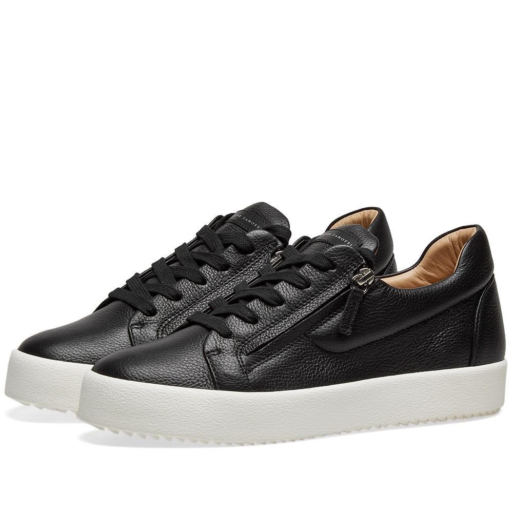 GIUSEPPE ZANOTTI レザー スニーカー メンズ 【 Hidden Zip Tumbled Leather Low Sneaker 】 Black & Silver