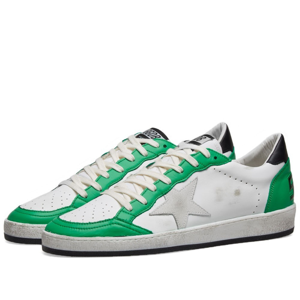 GOLDEN GOOSE レザー スニーカー メンズ 【 Ballstar Lo Leather Sneaker 】 White & Green