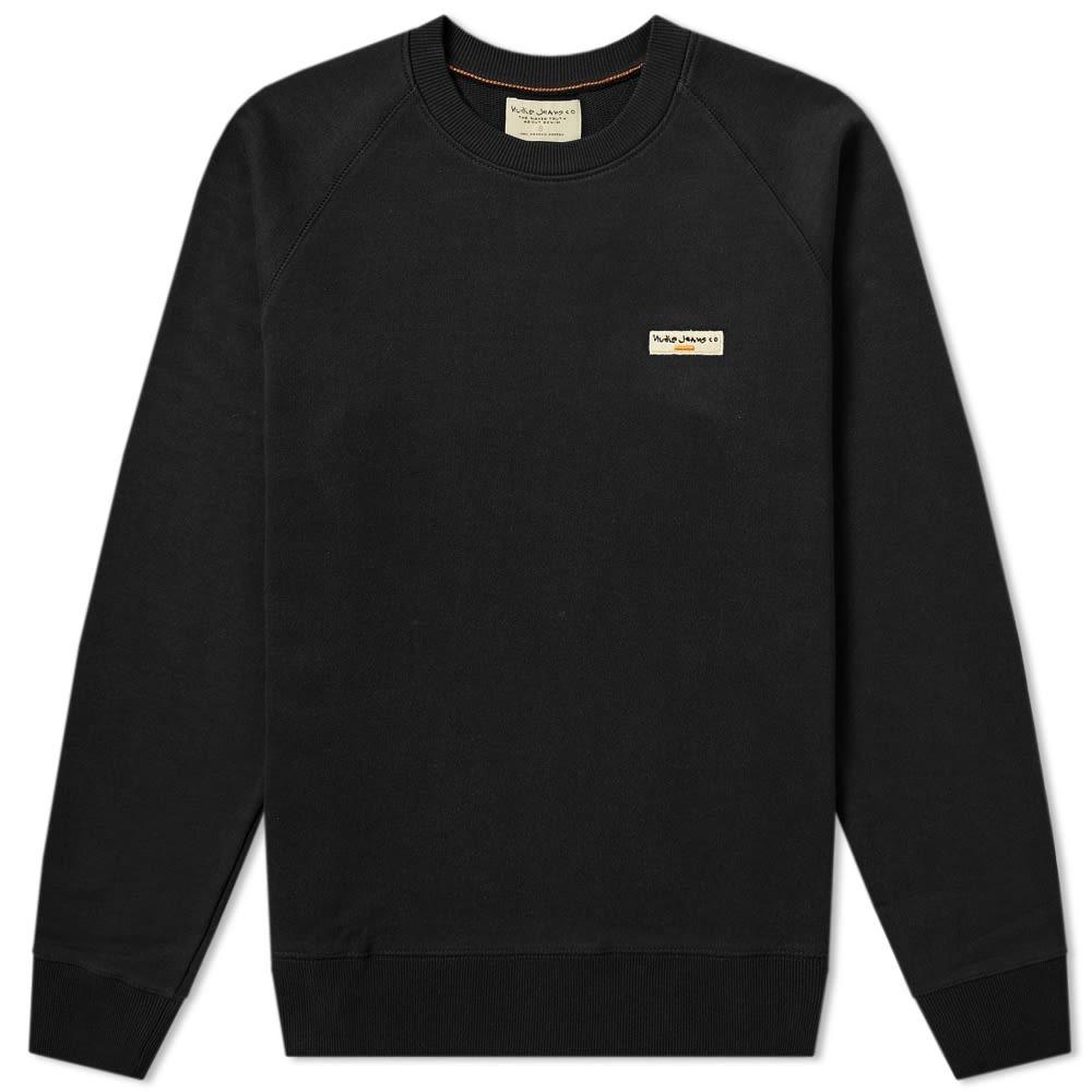 NUDIE JEANS CO ロゴ 【 SAMUEL LOGO CREW SWEAT BLACK 】 メンズファッション ズボン パンツ 送料無料