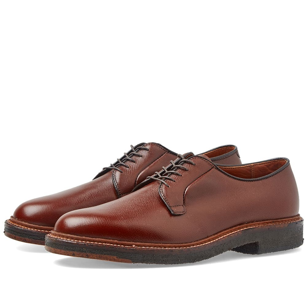 ALDEN SHOE COMPANY メンズ 【 Alden Plain Toe Blucher 】 Brown Alpine Grain