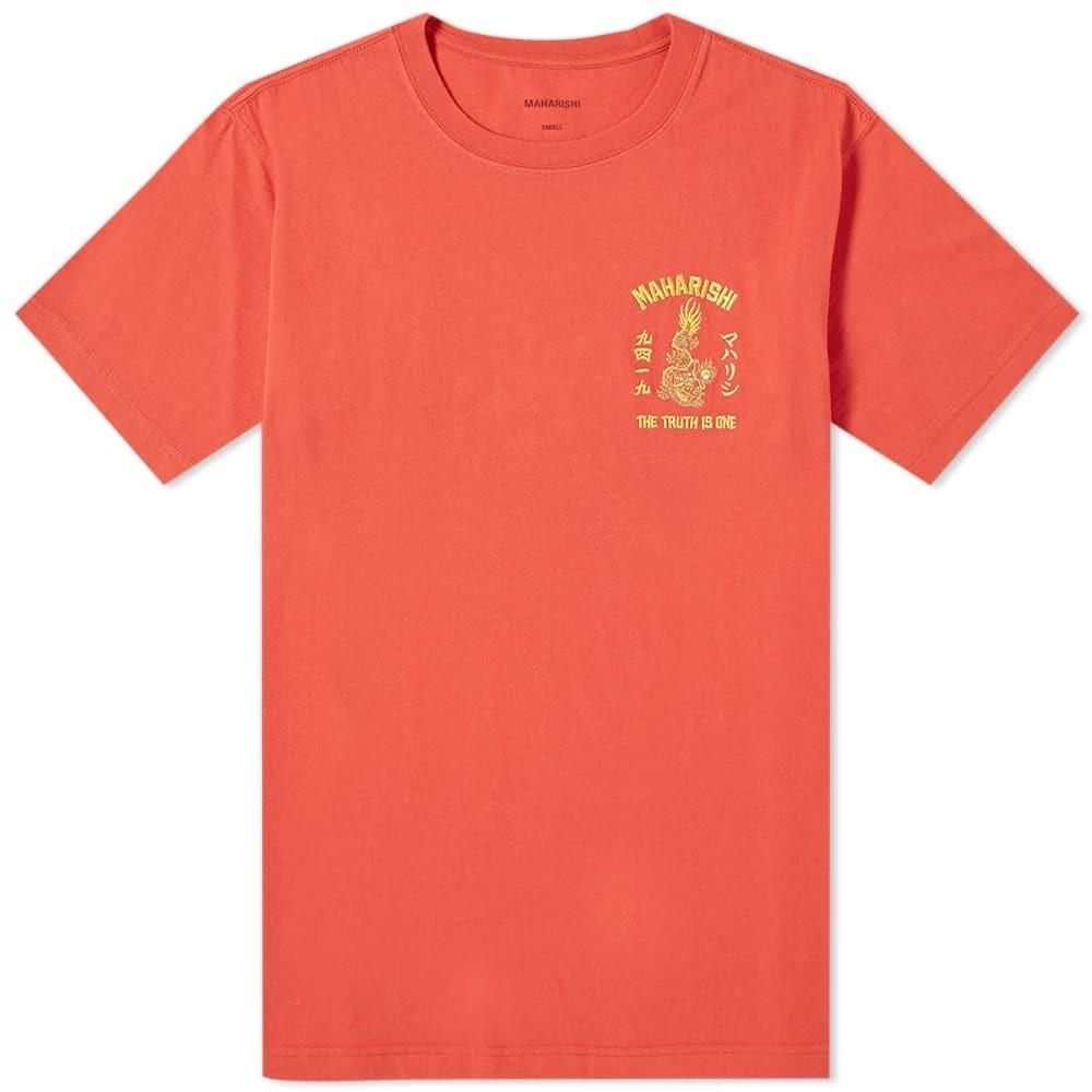 MAHARISHI ドラゴン Tシャツ メンズファッション トップス カットソー メンズ 【 Sun Dragon Embroidered Tee 】 Flare Red