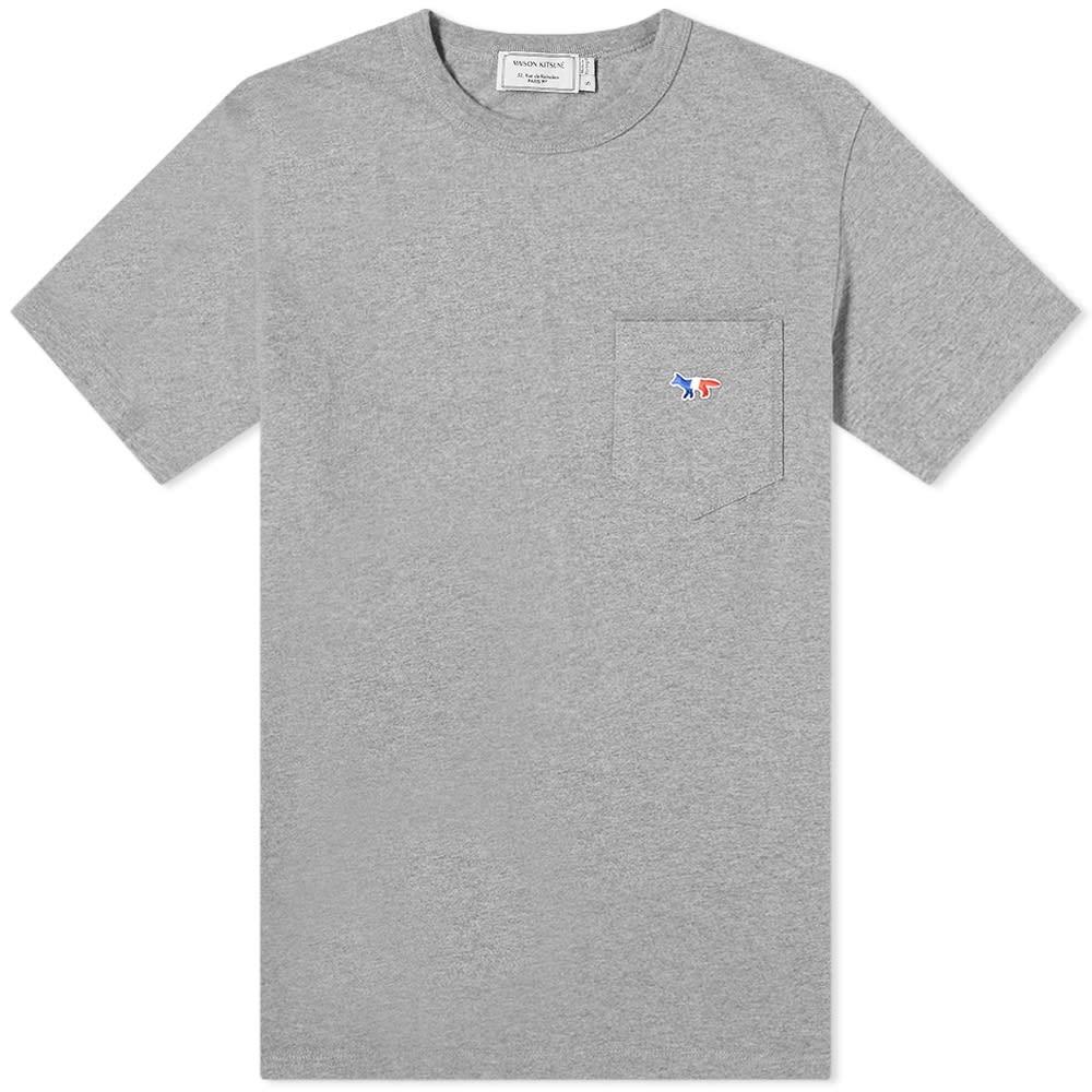 MAISON KITSUNE フォックス Tシャツ Kitsun・・ メンズファッション トップス カットソー メンズ 【 Maison Kitsun・・ Tricolour Fox Patch Pocket Tee 】 Grey Melange