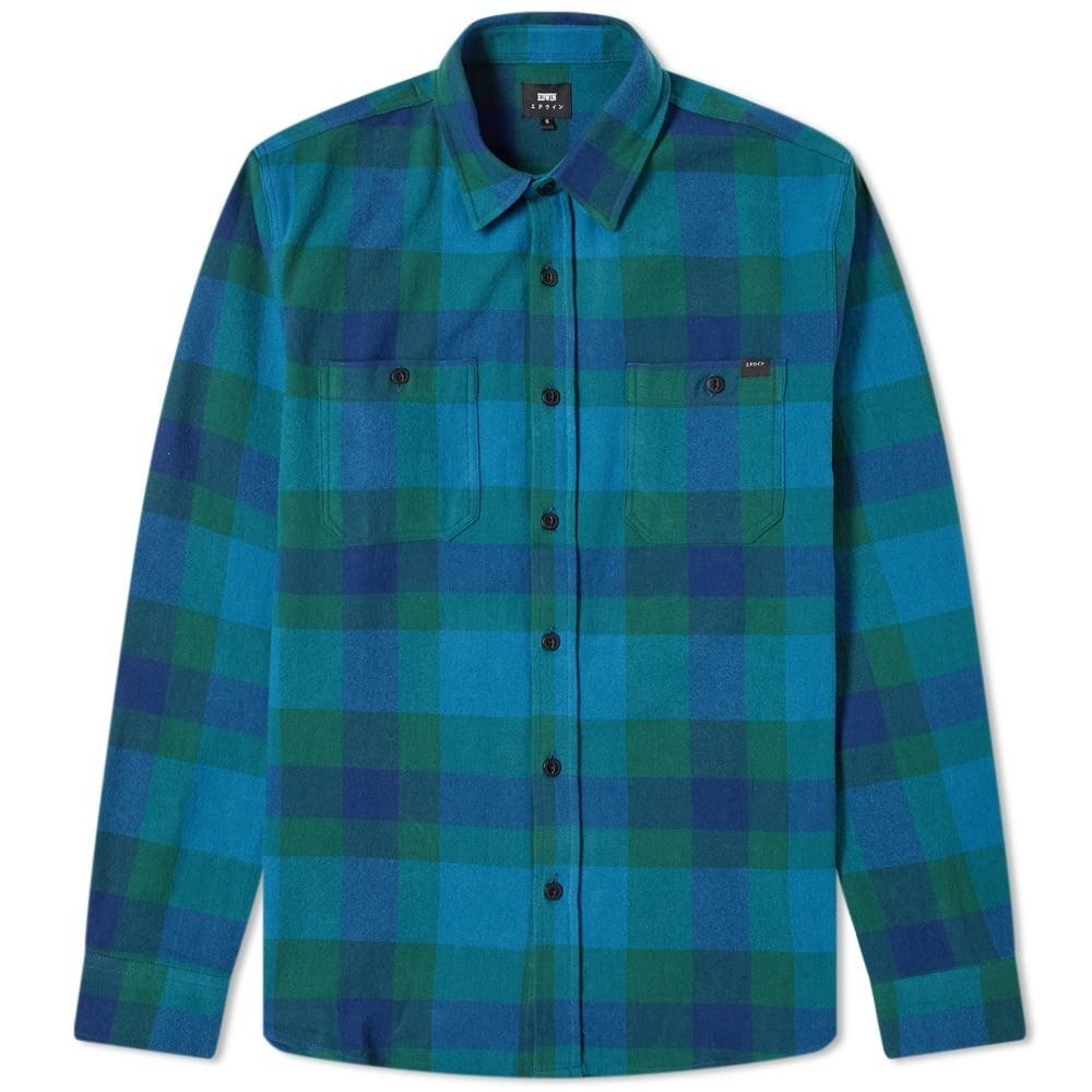 エドウィン EDWIN 青 ブルー & 【 BLUE LABOUR SHIRT DRESS DARK GREEN 】 メンズファッション トップス カジュアルシャツ 送料無料