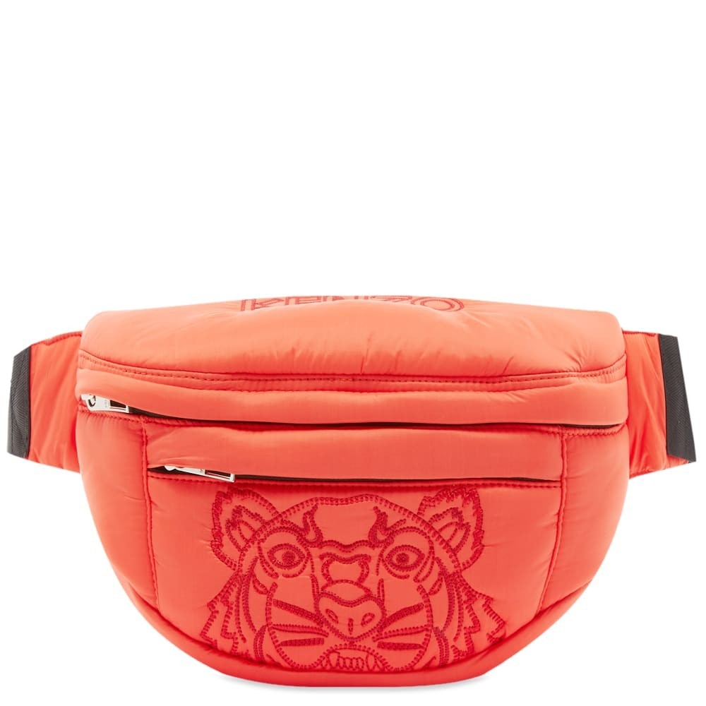 ファッションブランド カジュアル ファッション バッグ 【スーパーセール商品 12/4-12/11】KENZO ナイロン 【 TIGER EMBROIDERED NYLON CROSS BODY BAG MEDIUM RED 】 バッグ 送料無料