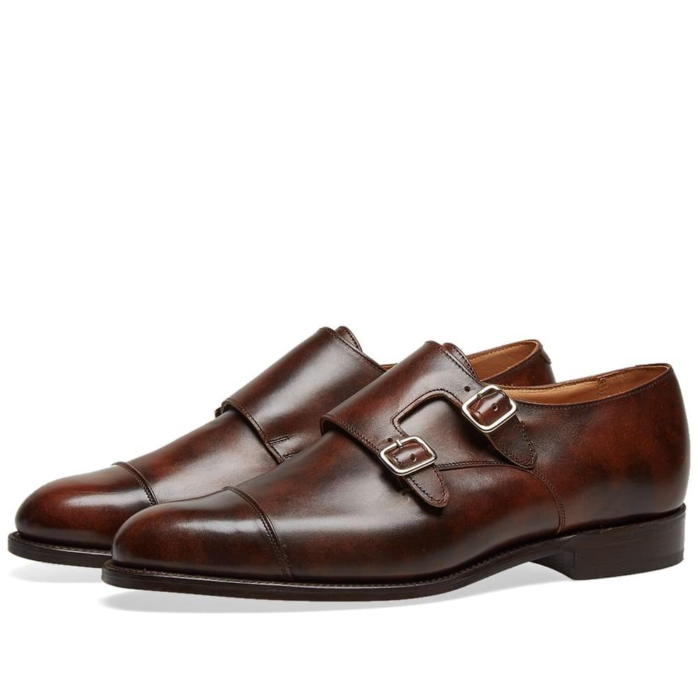 TRICKERS メンズ 【 Trickers Leavenworth Double Monk Shoe 】 Dark Brown Museum