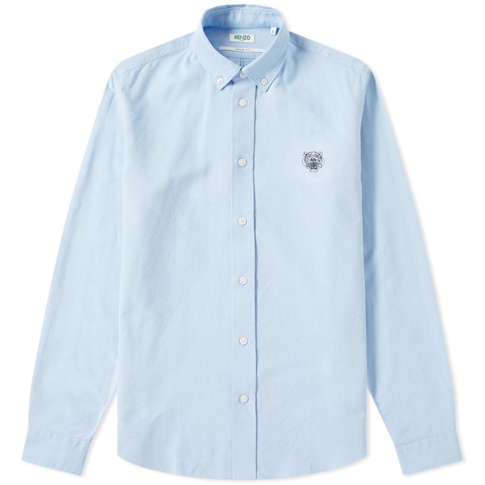 KENZO オックスフォード 【 TIGER CREST OXFORD SHIRT LIGHT BLUE 】 メンズファッション トップス カジュアルシャツ 送料無料