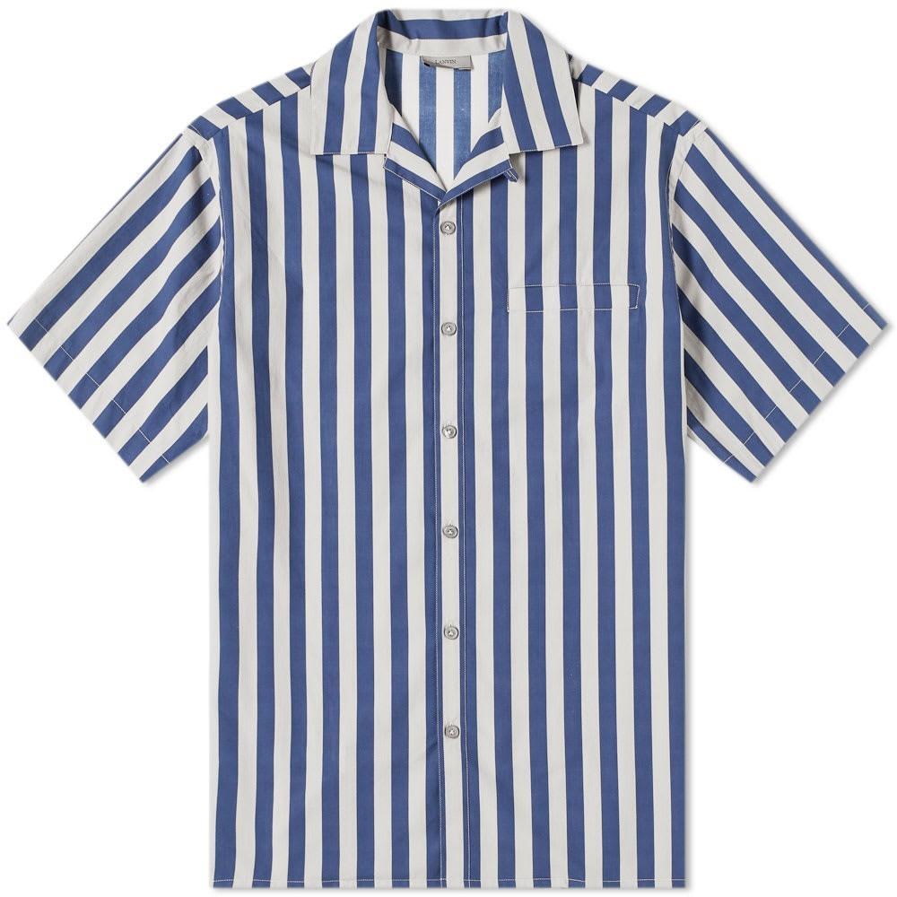 LANVIN ストライプ 青 ブルー & 【 STRIPE BLUE VACATION SHIRT DARK LIGHT GREY 】 メンズファッション トップス カジュアルシャツ 送料無料