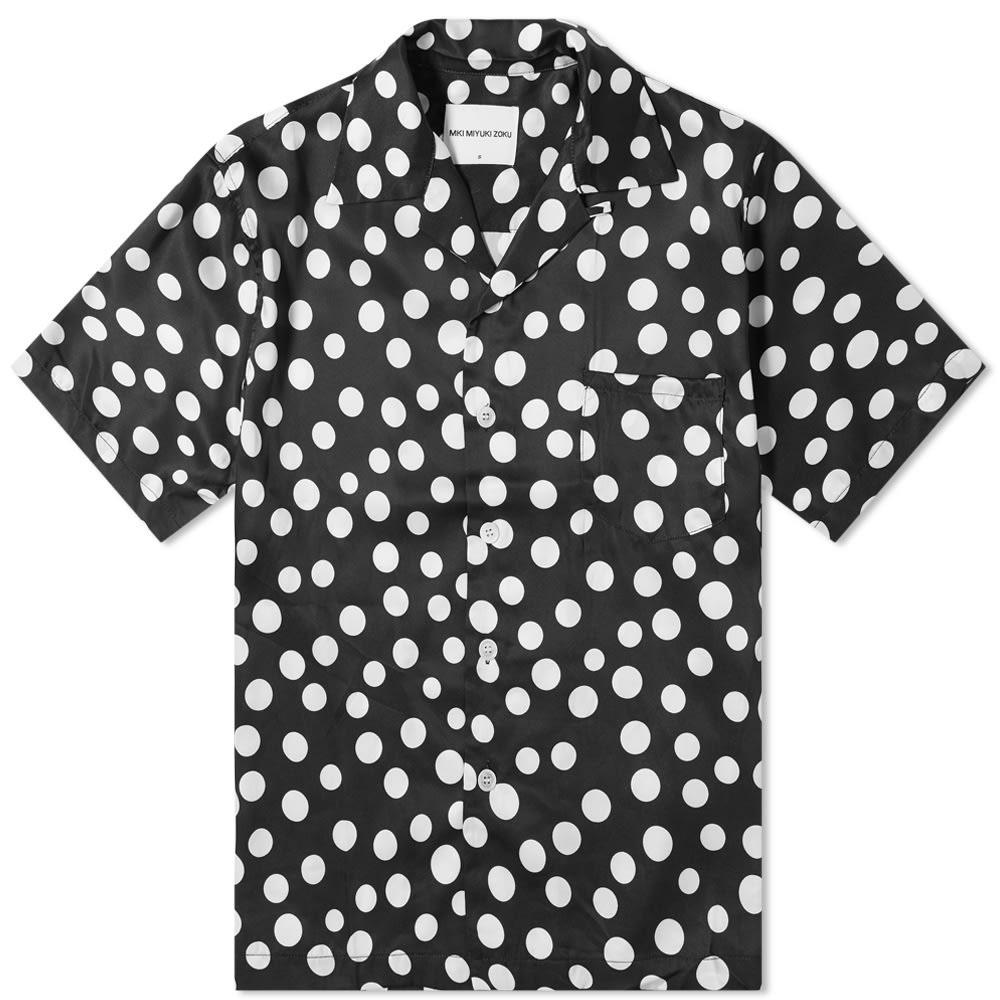 MKI & 【 LARGE POLKA DOT VACATION SHIRT BLACK WHITE 】 メンズファッション トップス カジュアルシャツ 送料無料