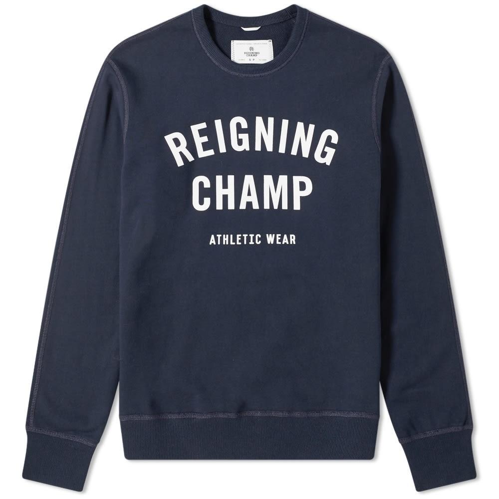 REIGNING CHAMP ロゴ スウェット メンズファッション トップス トレーナー メンズ 【 Gym Logo Crew Sweat 】 Navy & White