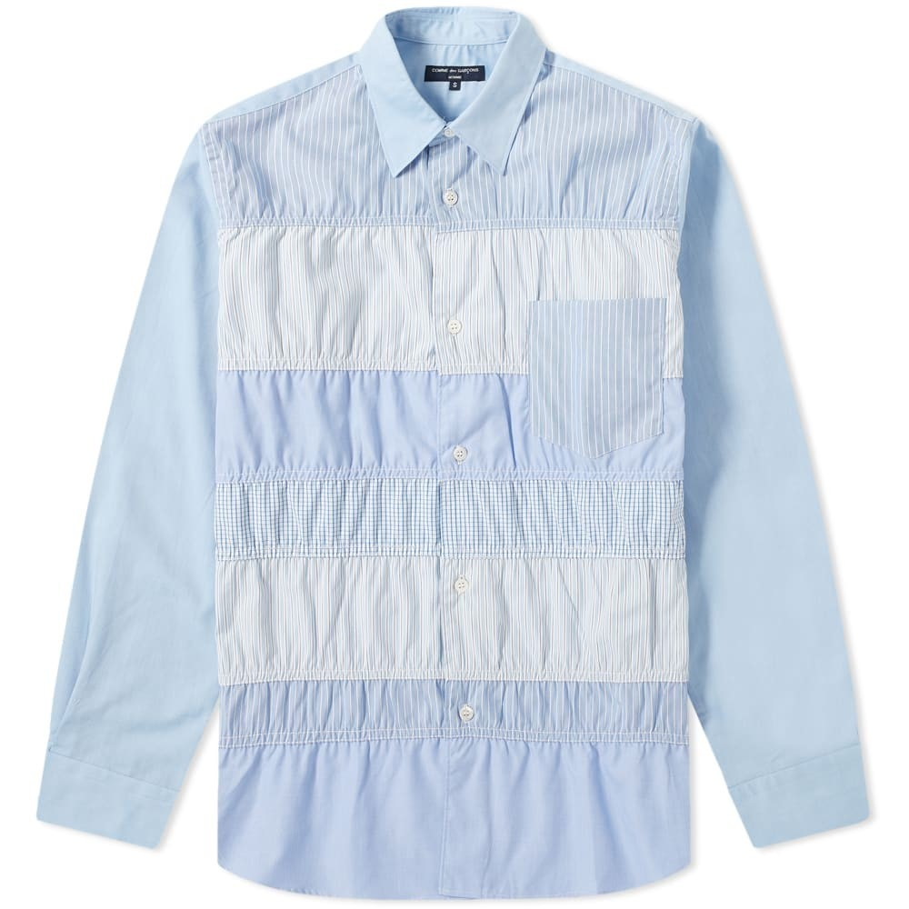 COMME DES GAR?ONS HOMME 【 GARCONS PATCHWORK SHIRT BLUE 】 メンズファッション トップス カジュアルシャツ 送料無料