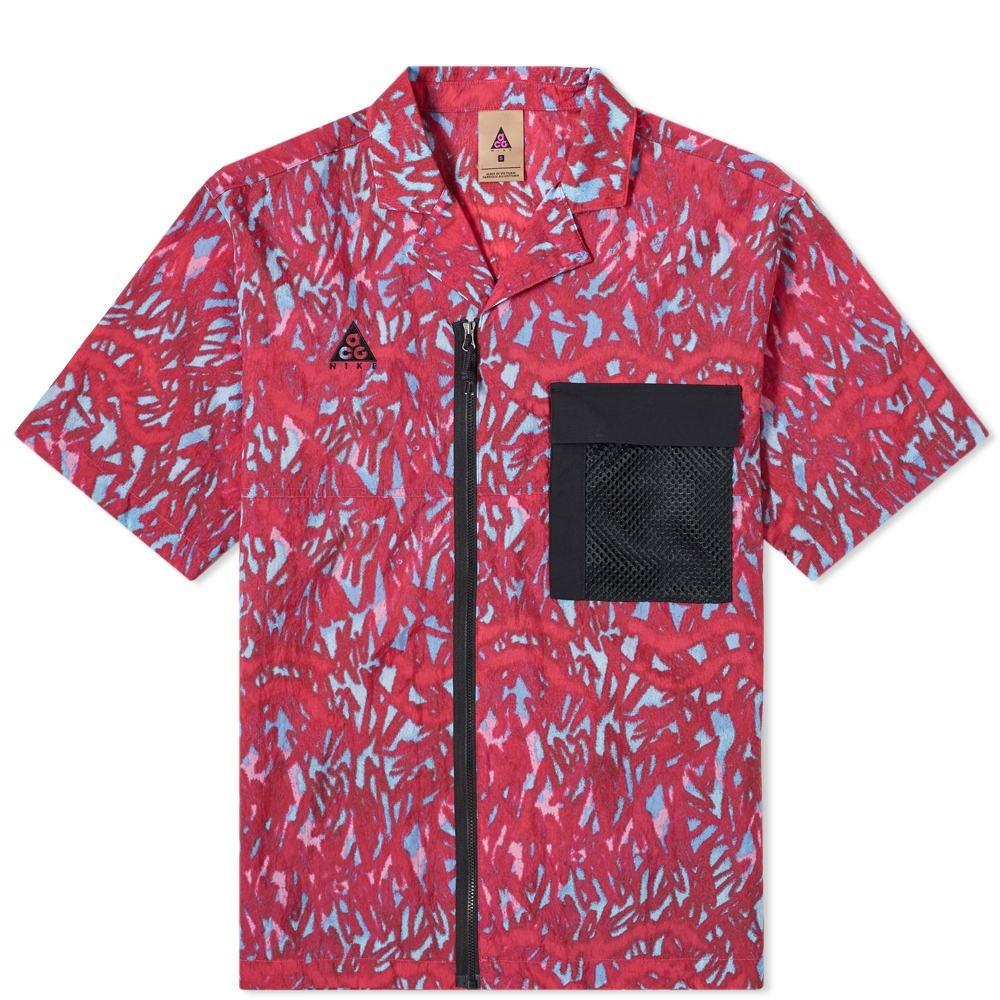 ナイキ NIKE 赤 レッド & 【 RED ACG ALL OVER PRINT SHIRT HABANERO BLACK 】 メンズファッション トップス カジュアルシャツ 送料無料