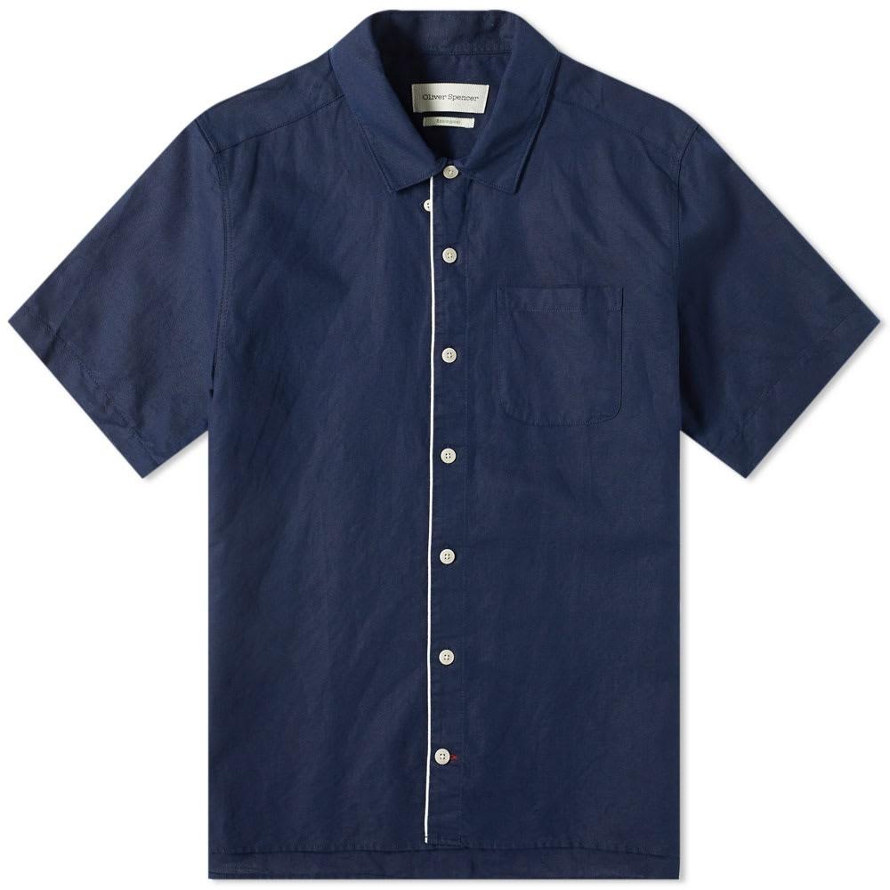 OLIVER SPENCER 【 LINEN HAWAIIAN SHIRT INK BLUE 】 メンズファッション トップス カジュアルシャツ 送料無料