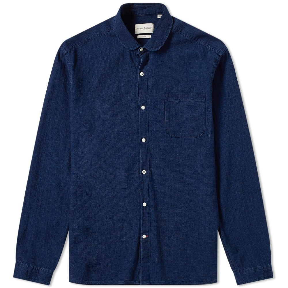 OLIVER SPENCER 【 ETON COLLAR SHIRT INDIGO RISE 】 メンズファッション トップス カジュアルシャツ 送料無料