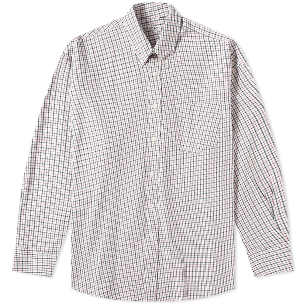 OUR LEGACY レガシー ダウン 緑 グリーン 【 GREEN BORROWED BUTTON DOWN SHIRT RED CHECK 】 メンズファッション トップス カジュアルシャツ 送料無料