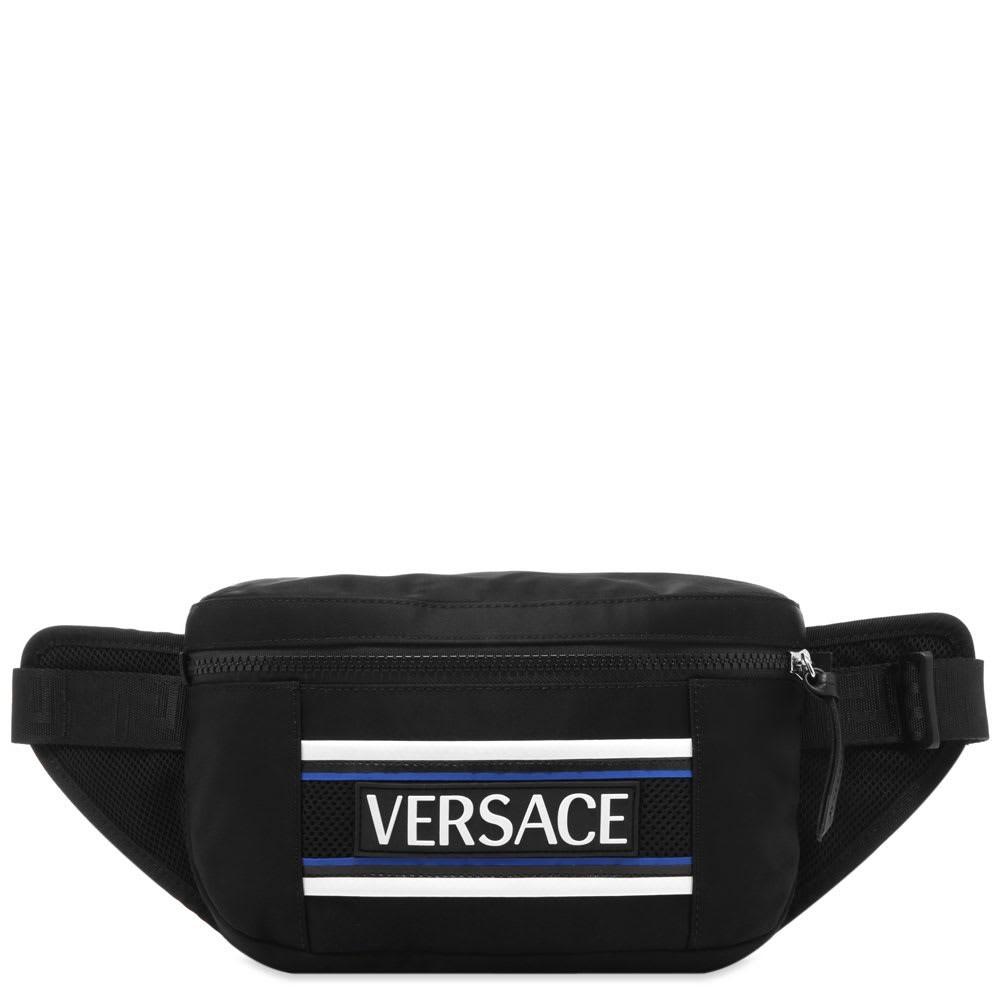 ファッションブランド カジュアル ファッション バッグ 【スーパーセール商品 12/4-12/11】VERSACE ロゴ  【 BONDED LOGO WAIST BAG BLACK BLUE 】 バッグ 送料無料