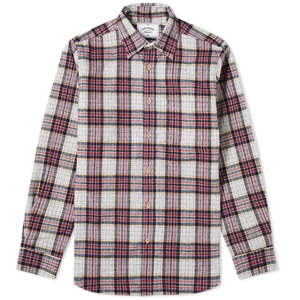 PORTUGUESE FLANNEL & 【 BAVARIC CHECK OVERSHIRT GREY BORDEAUX 】 メンズファッション トップス カジュアルシャツ 送料無料