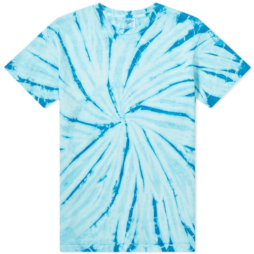 VELVA SHEEN Tシャツ 青 ブルー 【 BLUE VELVA SHEEN SPIRAL TIEDYE TEE 】 メンズファッション トップス Tシャツ カットソー