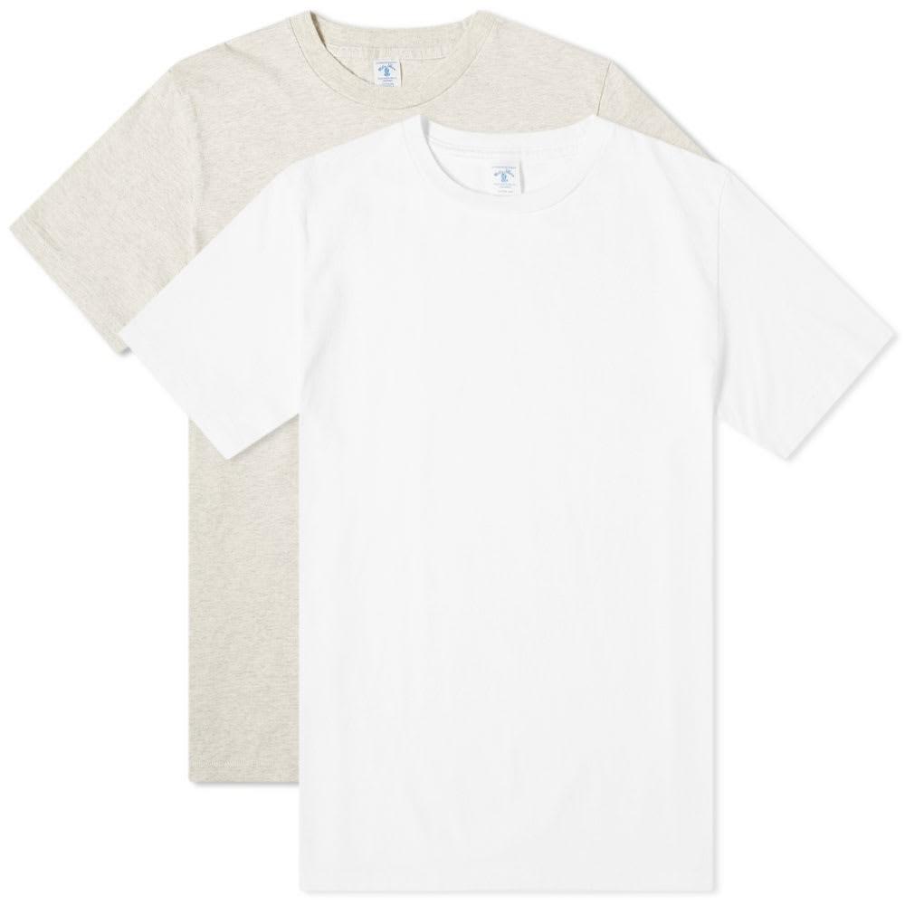 VELVA SHEEN Tシャツ メンズファッション トップス カットソー メンズ 【 2 Pack Plain Tee 】 White & Oatmeal