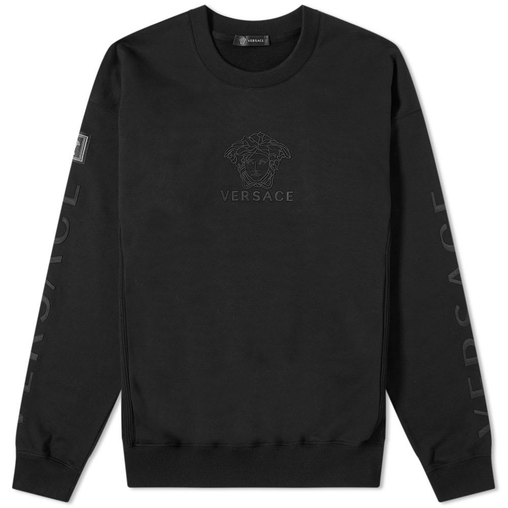 VERSACE ロゴ & 【 MULTI LOGO EMBROIDERED SWEAT BLACK WHITE 】 メンズファッション トップス スウェット トレーナー 送料無料