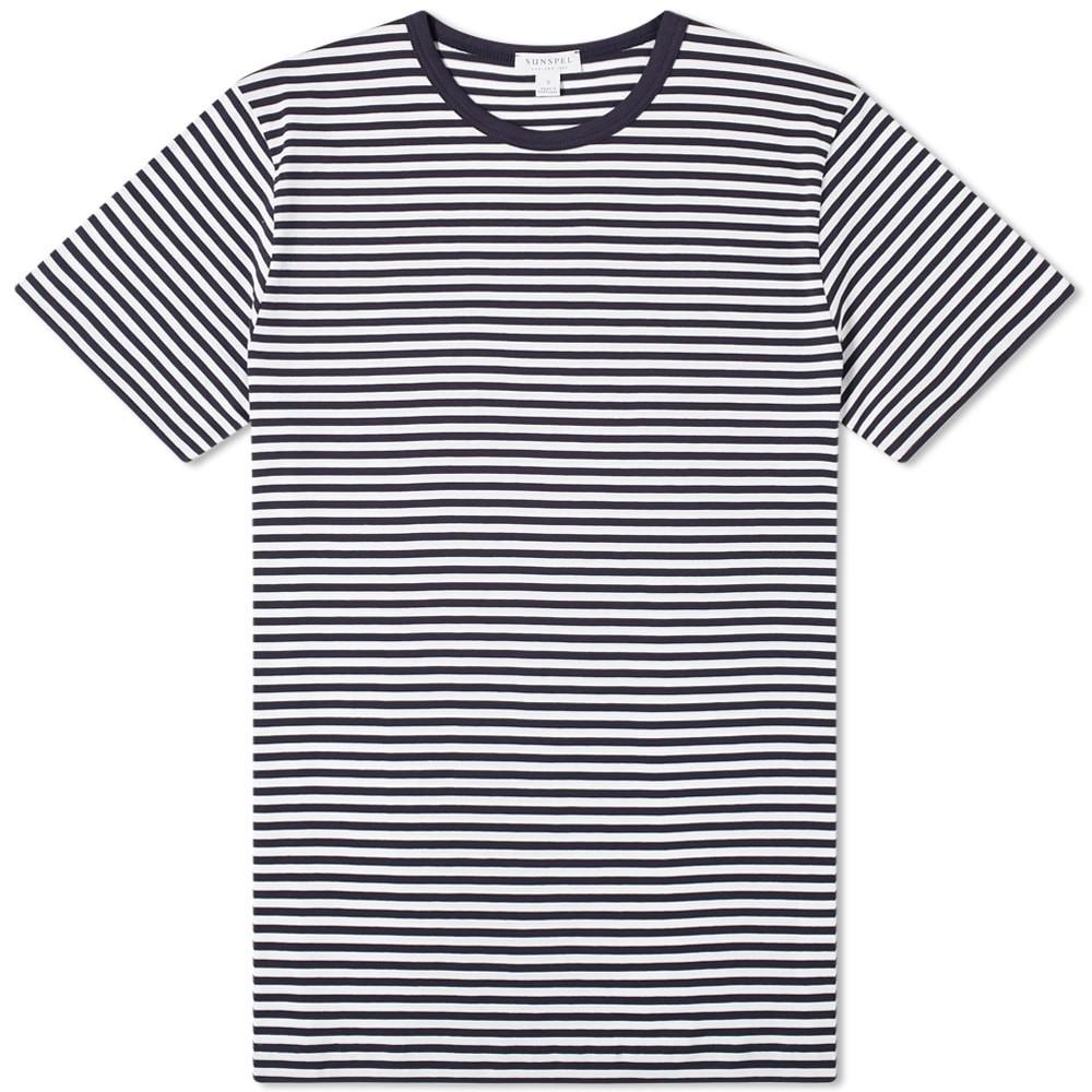 【スーパーセール中! 6/11深夜2時迄】SUNSPEL クラシック ストライプ Tシャツ メンズファッション トップス カットソー メンズ 【 Classic English Stripe Tee 】 White & Navy