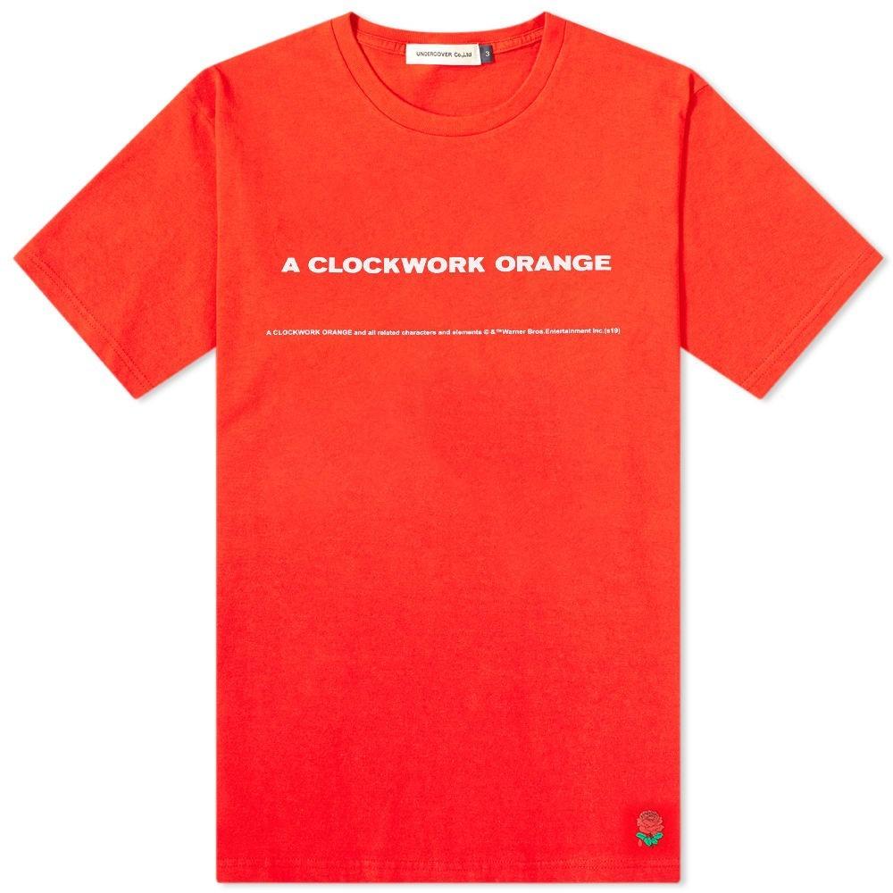 UNDERCOVER 橙 オレンジ 【 ORANGE X A CLOCKWORK BACK PRINT TEE RED 】 メンズファッション トップス Tシャツ カットソー 送料無料